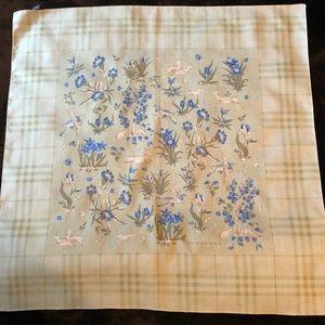 Burberry pocket handkerchief, cotton green animal